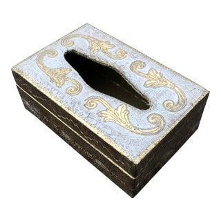 1950s Vintage Florentine Gilt Wood Tissue Box For Sale