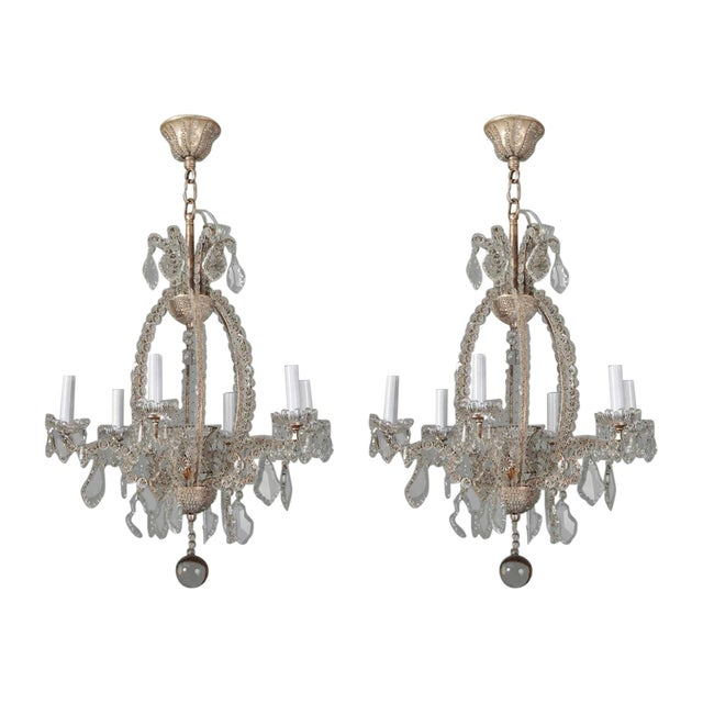 Italian Chandeliers With Round Beads and Original Beaded Canopies - a Pair For Sale - Image 12 of 12