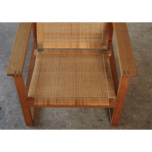1950s Børge Mogensen 2256 Oak and Cane Sled Lounge Chair, Fredericia, Denmark, 1950s For Sale - Image 5 of 13