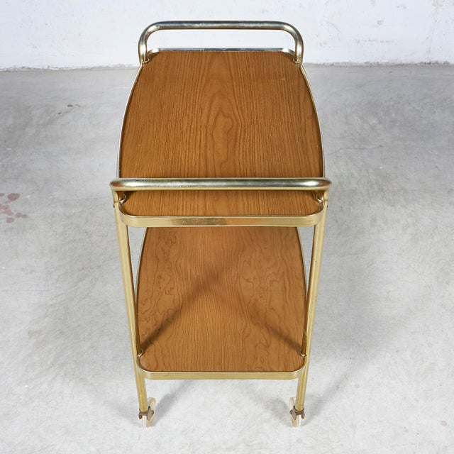 1960s Laminated Two-Shelf Rolling Serving Cart For Sale - Image 4 of 8