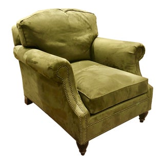 Ralph Lauren Home Olive Green Microsuede Club Chair For Sale