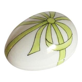 Limoge Green Bow Egg Shape Box