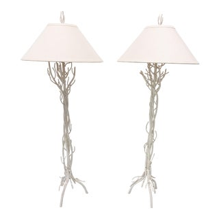 Faux Bois Metal Floor Lamps - a Pair For Sale