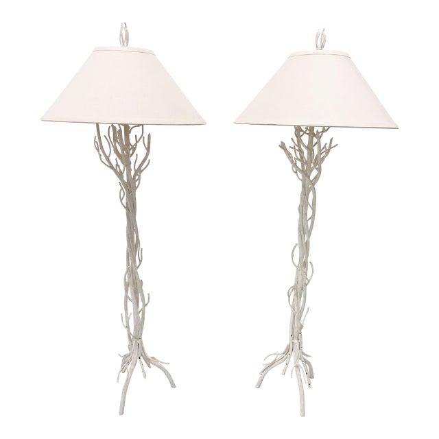 Faux Bois Metal Floor Lamps - a Pair For Sale