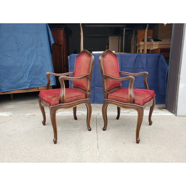 Metal Vintage Henredon French Regency Armchairs- a Pair For Sale - Image 7 of 11