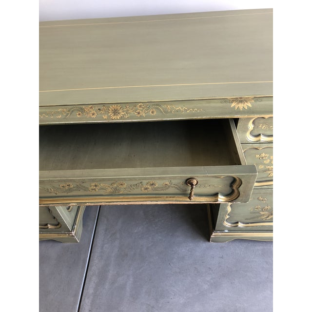 Wood Chinoiserie Green Wooden Partner Desk For Sale - Image 7 of 13
