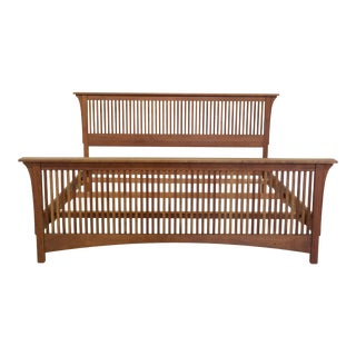 Stickley King Size Mission Cherry Spindle Bed For Sale