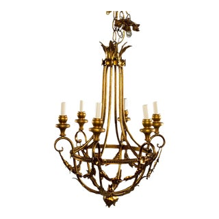 Gilt Metal French Six Light Chandelier For Sale