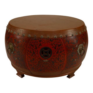 Asian Chinese Style Round Red and Brown Lacquer and Coromandel Drum Shaped Coffee Table For Sale