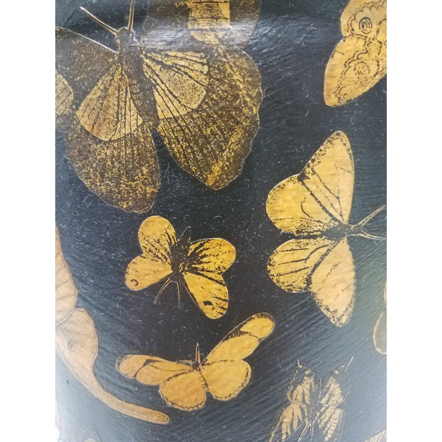 Black English Antique Bucket / Pail With Decoupage Butterflies - Found in Southern England For Sale - Image 8 of 11