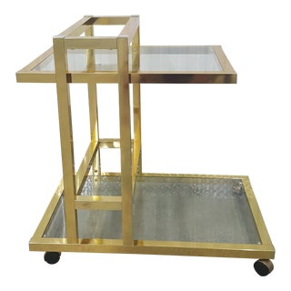 Vintage Brass Bar Cart. For Sale