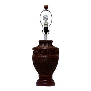 Vintage Woven Rattan Table Lamp For Sale