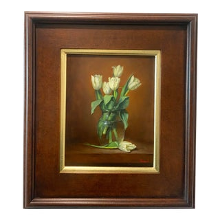 White Tulips Framed Painting For Sale