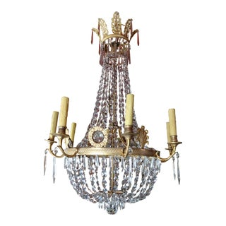19th Century French Empire Crystal Chandelier For Sale