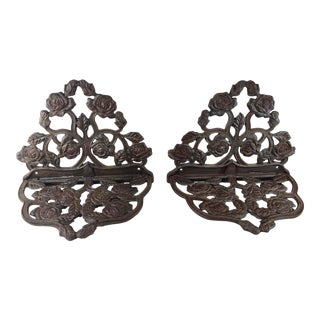 Mid 20th Century Vintage Cast Iron Filigree Wall Shelves - a Pair For Sale