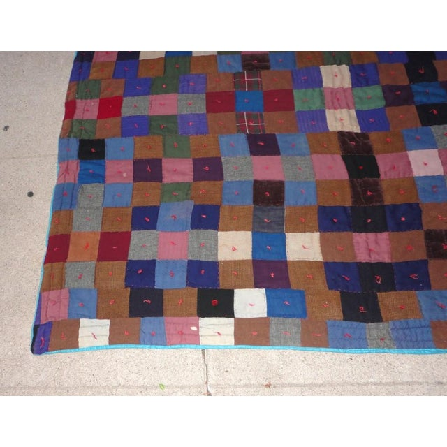Early 20th Century Early Pennsylvania Wool and Velvet One-Patch Quilt For Sale - Image 5 of 7
