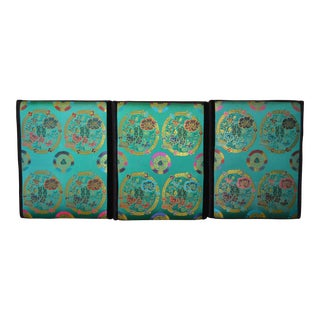 Vintage Turquoise Silk Textile Hanging Headboard / Wall Art For Sale