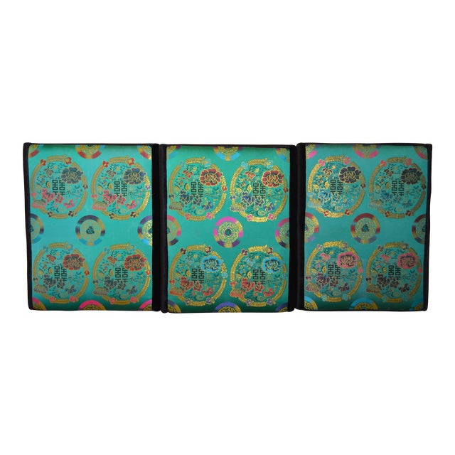 Vintage Turquoise Silk Textile Hanging Headboard / Wall Art | Chairish