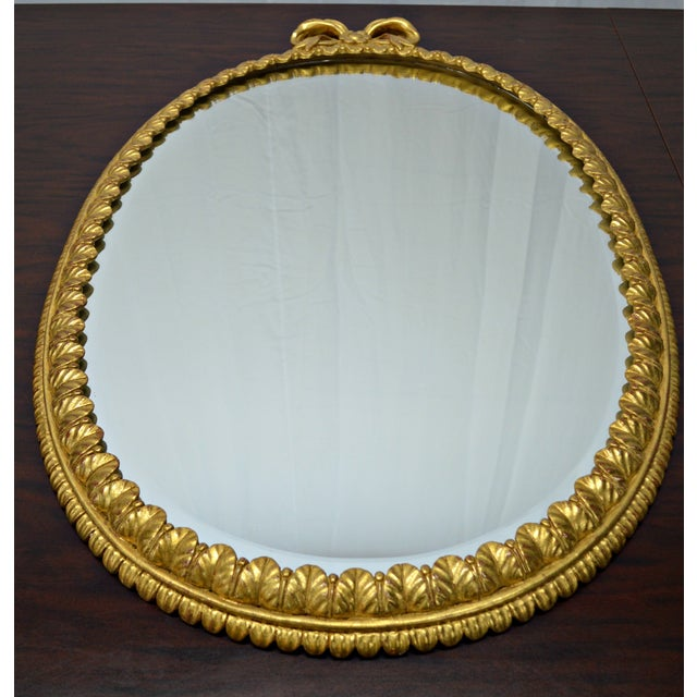 Oval Italian Gilt Mirror with Bow For Sale - Image 9 of 12