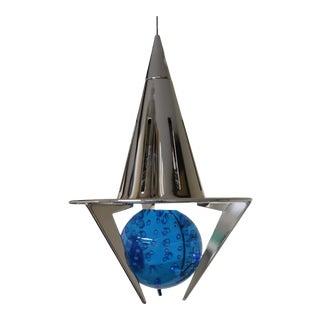 1990s Modern Carlo Nason Pendant Lamp Clear Aqua Glass For Sale