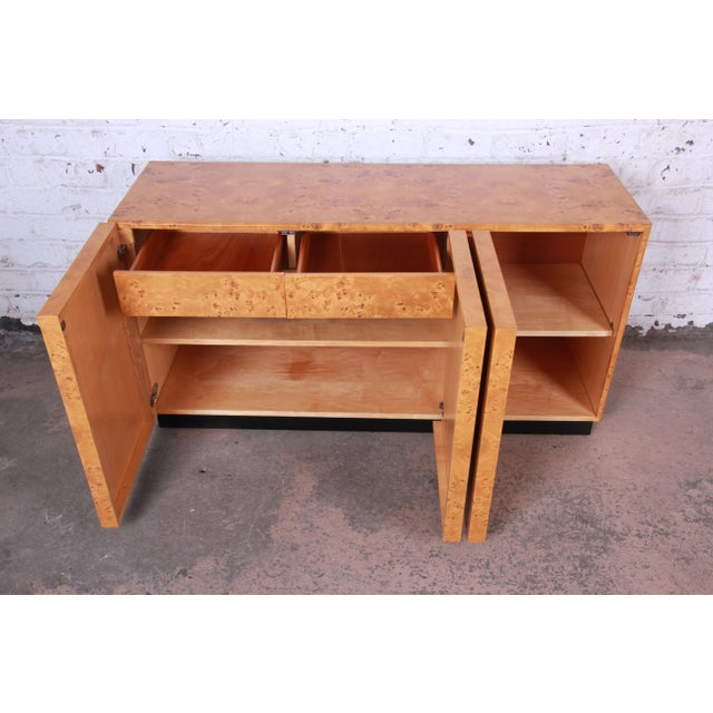 Burlwood Milo Baughman Burled Olive Wood Sideboard Credenza, Newly Refinished For Sale - Image 7 of 11