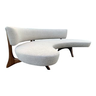 Attributed Vladimir Kagan Floating Curved Sofa For Sale