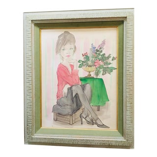 """Original Philippe Henri Noyer """"Girl in Pink Blouse"""" Watercolor, 1967 For Sale"""