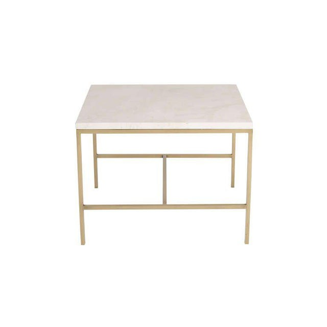 Modern Hogue Travertine Top Side Table For Sale - Image 3 of 4