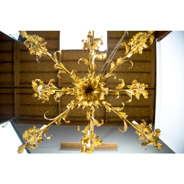 Gilt Palm Leaf Regency Chandeliers (2 Available) For Sale - Image 12 of 13