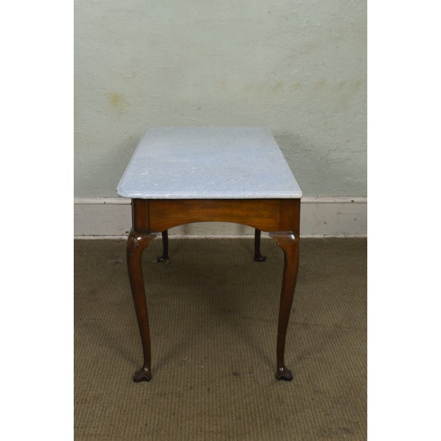 Mahogany Kittinger Colonial Williamsburg Cwiss Mahogany Marble Top Mixing Table Console For Sale - Image 7 of 13