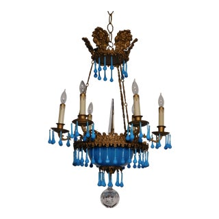 Antique 1880s French Brass 6 Candle Light Blue Opaline Chandelier For Sale