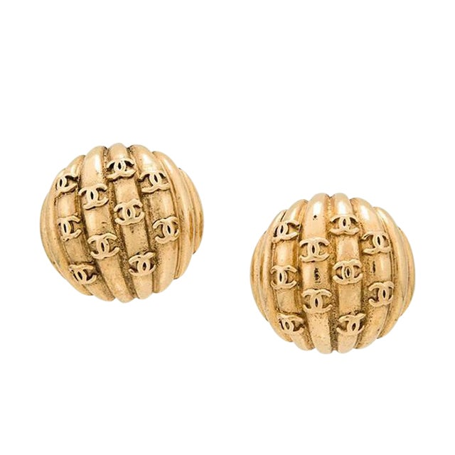 """Chanel Gold Textured """"Chanel"""" Charm Evening Stud Earrings in Box For Sale"""