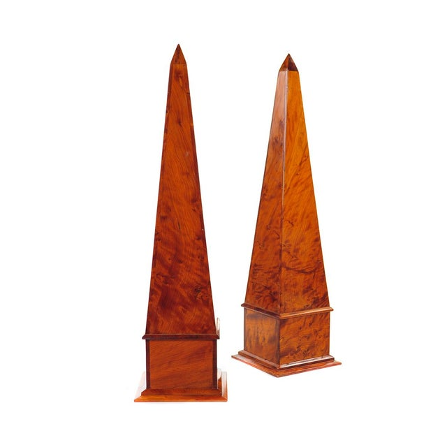 19th century pair of large burl walnut obelisk. These pieces have exquisite detail and design!