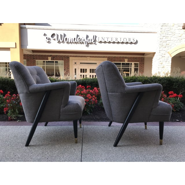 Transitional Mid Century Modern Vintage Gray Tweed Dunbar Era Occasional Club Chairs- a Pair MCM For Sale - Image 3 of 8