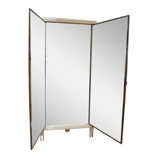 Vintage Triptych Folding Wall Mirror For Sale