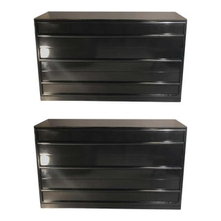Midcentury Ebony Robsjohn-Gibbings Chests / Commodes, a Pair Lacquered Pristine For Sale