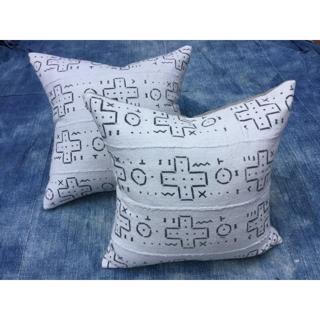African Tribal Mud Cloth Pillows - A Pair - Image 2 of 6