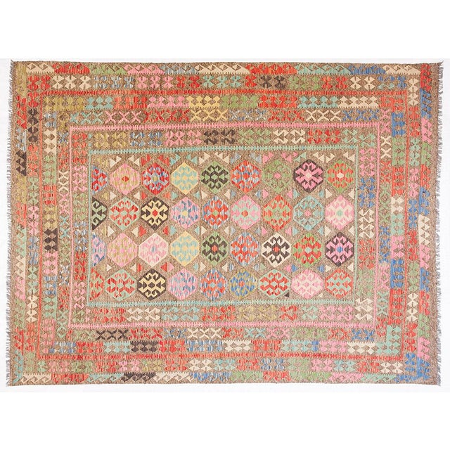 Geometric Design Handmade Kilim Rug - 8′3″ × 11′3″ For Sale In New York - Image 6 of 6