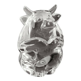 Steuben Glass Bull Hand Cooler Paperweight, Signed For Sale