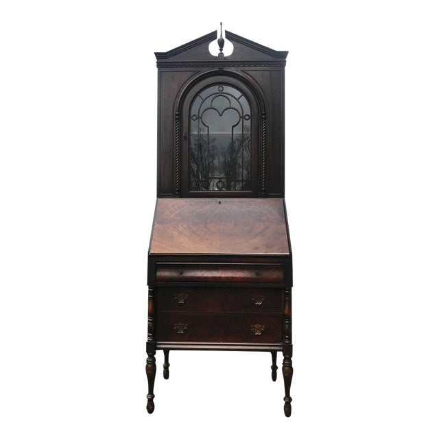 Antique Gothic Victorian Carved Gany Drop Front Secretary Desk