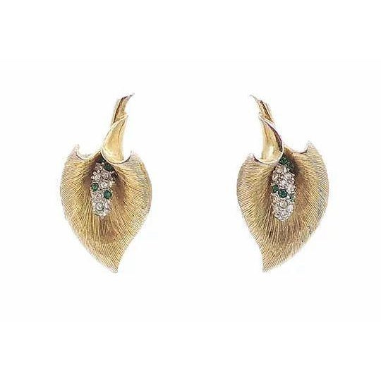 Late 1950s Boucher Calla Lilly Rhinestone Earrings For Sale - Image 9 of 9