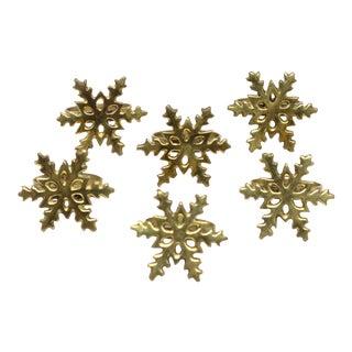Brass Snowflake Napkin Rings - Set of 6