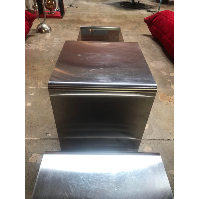 1970s Sculptural Coffee Table Made of Three Modular Glass and Chrome Pieces, 1970s For Sale - Image 5 of 12