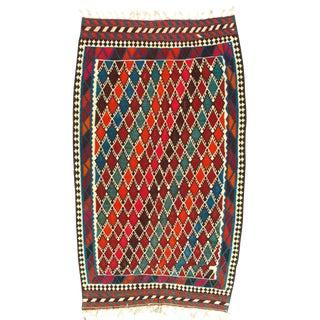 Pasargad N Y Persian Shiraz Ghashghaei Kilim Rug - 5′5″ × 9′2″ For Sale