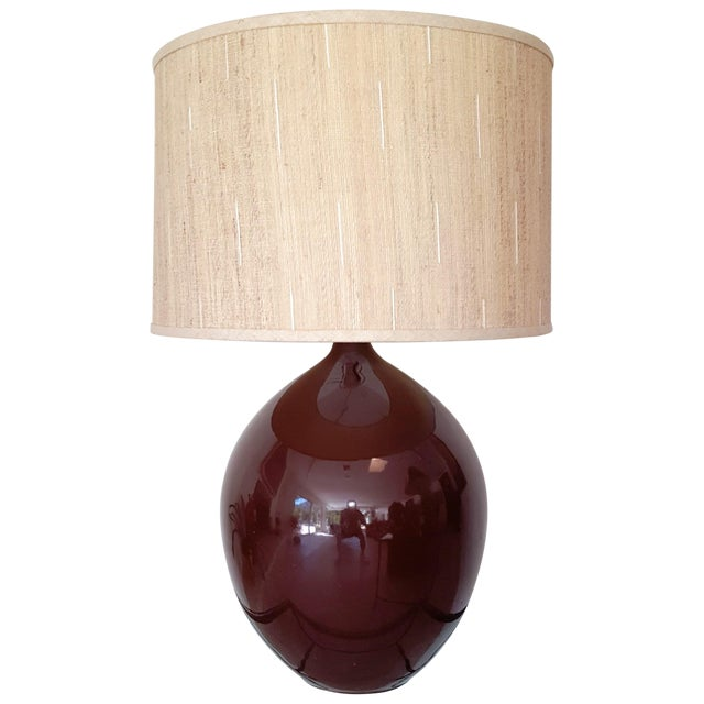 Brown Ceramic Teardrop Lamp For Sale
