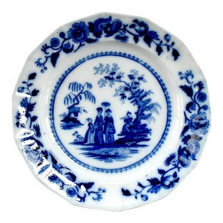 "19th-Century Antique Flow Blue John Maddock ""Mandarin"" Pattern Plate For Sale"