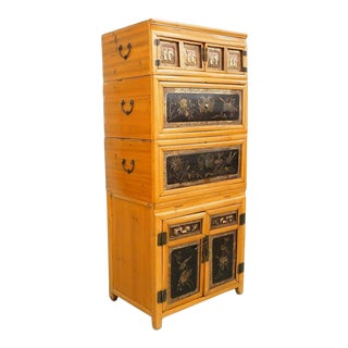 Antique 19th C. Chinese Elm Stacking Dowry Chests For Sale