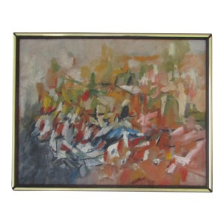 1960's Art Bevacqua Original Signed Abstract Oil Painting