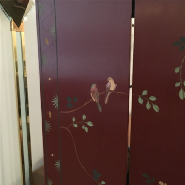 Signed Mid Century Modern Maitland Smith Four-Panel Asian Themed Wood & Brass Screen - Image 6 of 11