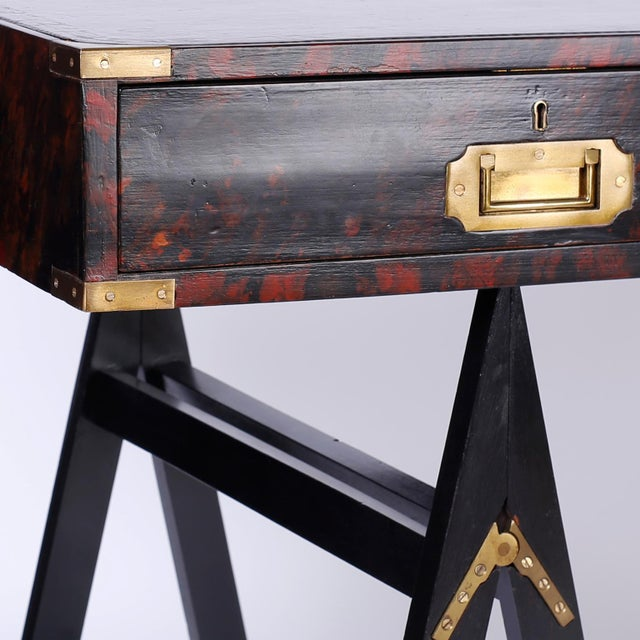 19th Century English Campaign Style Desk with a Faux Tortoise Shell Finish For Sale - Image 4 of 11